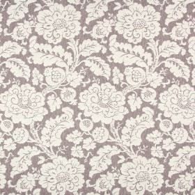 Anastasia - Sable - Dark grey and off-white coloured polyester, cotton and linen blend fabric with a large busy design of flowers and leaves