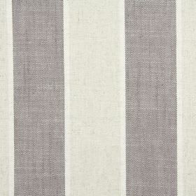 Celeste - Sable - Evenly striped fabric made from cotton, linen, viscose and polyester in white, cream and grey-brown