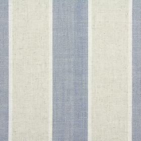 Celeste - Denim - Pale grey and dusky blue stripes creating vertical patterns on white fabric made from cotton, linen, viscose & polyester