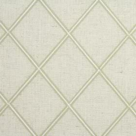 Lorenza - Avocado - Green-grey, beige and cream coloured blended fabric with a pattern of large, regular, repeated diamond shapes