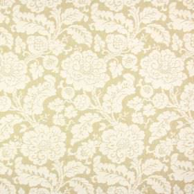 Anastasia - Avocado - Fabric blended from polyester, cotton and linen in a golden cream colour with large, ornate off-white flowers and leav