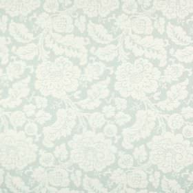 Anastasia - Spearmint - Ornately patterned fabric blended from a variety of materials with large leaves and flowers in off-white and pale gr