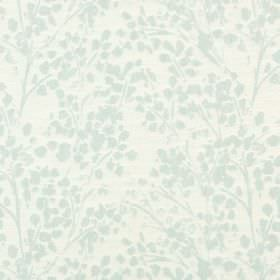 Lilla - Spearmint - Very pale green simple stalks and stylised leaves on an off-white polyester, cotton and linen blend fabric