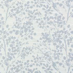 Lilla - Denim - Simple stalks and stylised leaves in pale blue against very pale grey coloured polyester-cotton-linen blend fabric