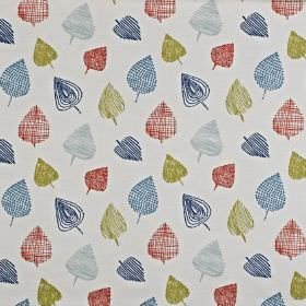 Freya - Papaya - Roughly drawn, stylised leaves in red, navy blue, baby blue and olive green on very pale grey cotton and polyester fabric