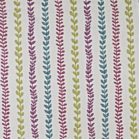 Heidi - Tutti Frutti - Cotton and polyester blend fabric made in fun, fresh green and purple shades, featuring a design of rows of simple leav