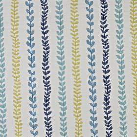 Heidi - Marine - Small, simple leaves in classic blue and green shades arranged in rows on a pale grey cotton and polyester fabric background
