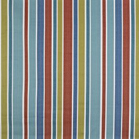 Ingrid - Papaya - Striking, simple stripes running vertically down 100% cotton fabric in blood red, olive green, denim blue and light blue