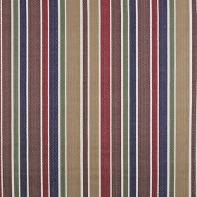 Ingrid - Spice - Muted shades of purple, beige, red, blue and garden making up a simple vertical stripe design on 100% cotton fabric