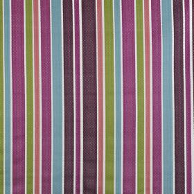 Ingrid - Tutti Frutti - Vibrant 100% cotton fabric printed with stripes of different widths in bright shades of pink, purple, green and blue