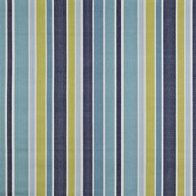 Ingrid - Marine - Cool, classic shades of blue and green making up a fresh vertical stripe design on fabric made from 100% cotton