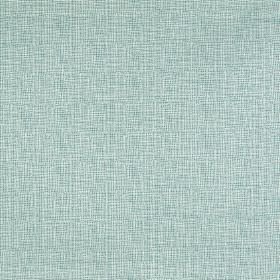 Klara - Azure - Subtly streaked white and baby blue coloured fabric made from a blend of viscose, cotton and polyester