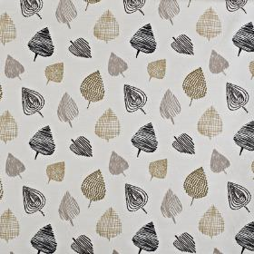Freya - Ochre - Fabric made from cotton and polyester, with a fun design of roughly drawn, stylised leaves in black, grey and beige shades