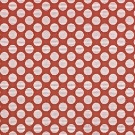 Pia - Papaya - Large chalk white coloured polka dots arranged in rows on a blood red viscose, cotton and polyester fabric background
