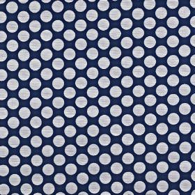 Pia - Navy - Midnight blue coloured viscose, cotton and polyester blend fabric, featuring large, very pale grey-white polka dots