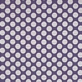Pia - Violet - Indigo and very pale grey-white coloured fabric made from viscose, cotton and polyester, with rows of large polka dots