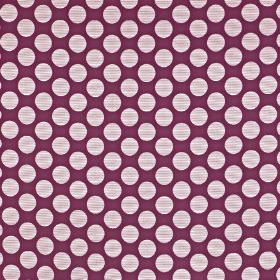 Pia - Amethyst - A large polka dot design printed in very pale grey on rich violet coloured viscose, cotton and polyester blend fabric