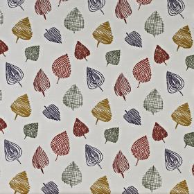 Freya - Spice - Pale grey cotton and polyester blend fabric, printed with a dark grey, burgundy and chestnut pattern of fun, stylised leaves