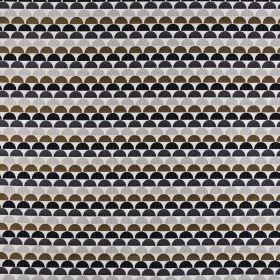 Ulrika - Ochre - Fabric made from viscose, polyester and linen in brown, black and grey shades, featuring rows of small hemispheres