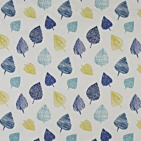 Freya - Marine - Sketchily drawn navy, duck egg blue and lime green coloured leaves scattered over pale grey cotton and polyester fabric