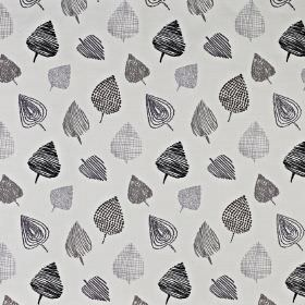 Freya - Graphite - Cotton and polyester blend fabric featuring a fun, simple, sketching drawn leaf design in light and dark shades of grey