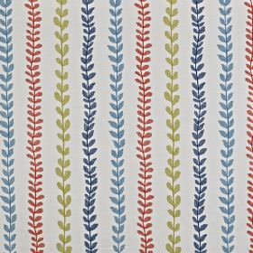 Heidi - Papaya - Pale grey cotton and polyester blend fabric printed with rows of small, simple leaves in red, navy, light blue and green