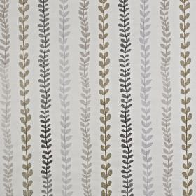 Heidi - Ochre - Beige and shades of grey making up a cotton and polyester blend fabric patterned with rows of small, simple leaves