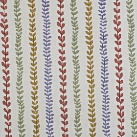 Heidi - Spice - Fabric made from pale grey cotton and polyester, printed with rows of small, simple, red, gold, grey and blue leaves