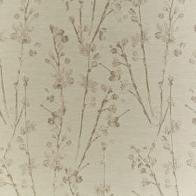 Meadow - Linen - Simple brown stalks and petals printed on a creamy beige coloured polyester and cotton blend fabric background