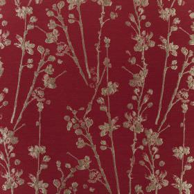 Meadow - Cardinal  - Rich mulberry coloured polyester and cotton blend fabric behind a printed pattern of simple dark brown stalks and petal