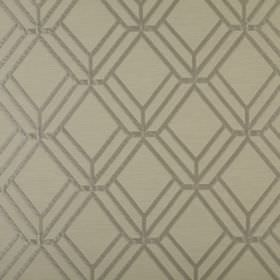 Atrium - Linen - Dark grey lines creating a 3 dimensional geometric style pattern on polyester-cotton fabric in a lighter shade of grey