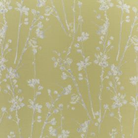 Meadow - Willow - Stalk and petal printed fabric made from polyester and cotton with a white and pale grey design on a light green background