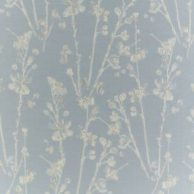 Meadow - Sky - Fabric made from baby blue coloured polyester and cotton, behind a printed design of white and grey stalks and petals