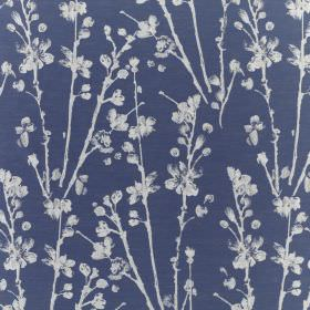 Meadow - Cobalt - White stalks and petals printed on fabric made from deep navy blue coloured polyester and cotton
