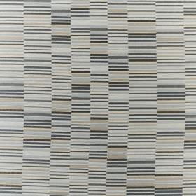 Parquet - Sky - Various different shades of grey and blue making up a short, dashed line pattern on fabric made with a mixed fibre content