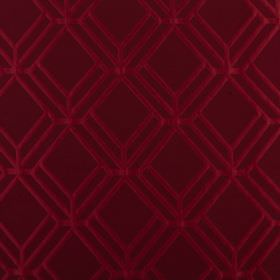 Atrium - Cardinal  - Rich berry plum and raspberry making up a polyester and cotton blend fabric with a pattern of 3D style geometric lines