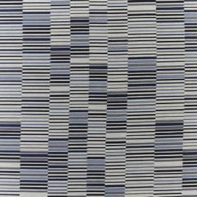 Parquet - Cobalt - Rows of light and dark shades of grey and blue making up a stylish pattern of short, dashed lines on blended fabric