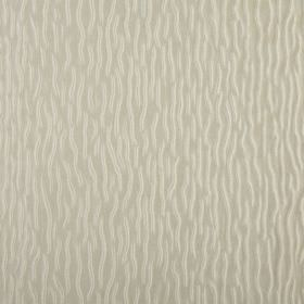 Ripple - Parchment - Short ivory coloured wiggly lines scattered over a background of 100% polyester fabric in very pale grey