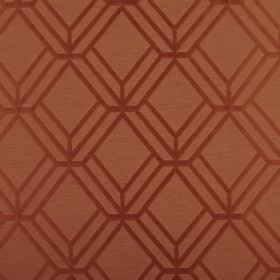 Atrium - Auburn - Fabric made from orange coloured polyester and cotton, patterned with terracotta coloured lines in a 3D geometric style