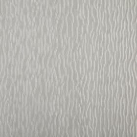 Ripple - Chrome - Light grey coloured 100% polyester fabric behind a fun design of short, wiggly lines scattered in white