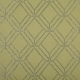 Atrium - Willow - Pale green polyester and cotton blend fabric behind a 3D geometric style pattern made up of simple lines in silver