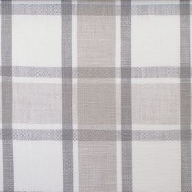 Arran - Natural - White and three different shades of light grey making up the checked pattern for this hard wearing fabric