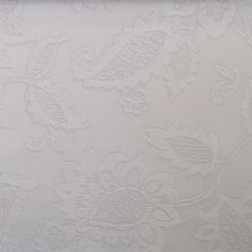 Farrow - Sterling - Light grey leaves and florals as a slightly raised pattern for cotton fabric in the same colour