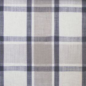Arran - Charcoal - Hard wearing fabric checked with wide bands of white, light grey and mid grey, and narrow dark blue bands