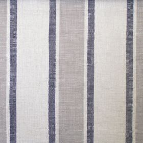 Farray - Charcoal - A repeated design of narrow dark blue and medium mid grey stripes on a background of very light grey hard wearing fabric