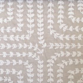 Una - Linen - Light grey-brown linen fabric embroidered with rows of leaves in square patterns with rounded corners