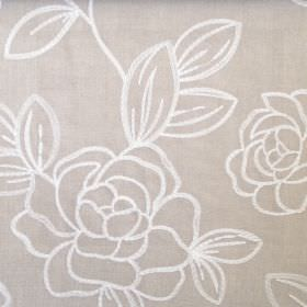 Fenella - Linen - Simple white line drawings of roses and leaves on a cream-beige linen fabric background
