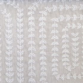 Una - Natural - Squares with rounded corners created by lines of embroidered white leaves on a grey linen fabric background