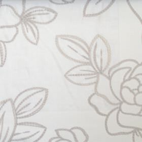 Fenella - Natural - Fabric made from white linen as a background for roses and leaves created from simple silver line drawings