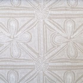 Alban - Linen - White embroidery in teardrops, dots, lines and circles on a beige linen fabric background